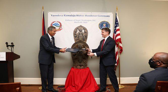 अमेरिकाले फिर्ता गर्यो नेपालबाट चोरिएको ऐतिहासिक मूर्ति